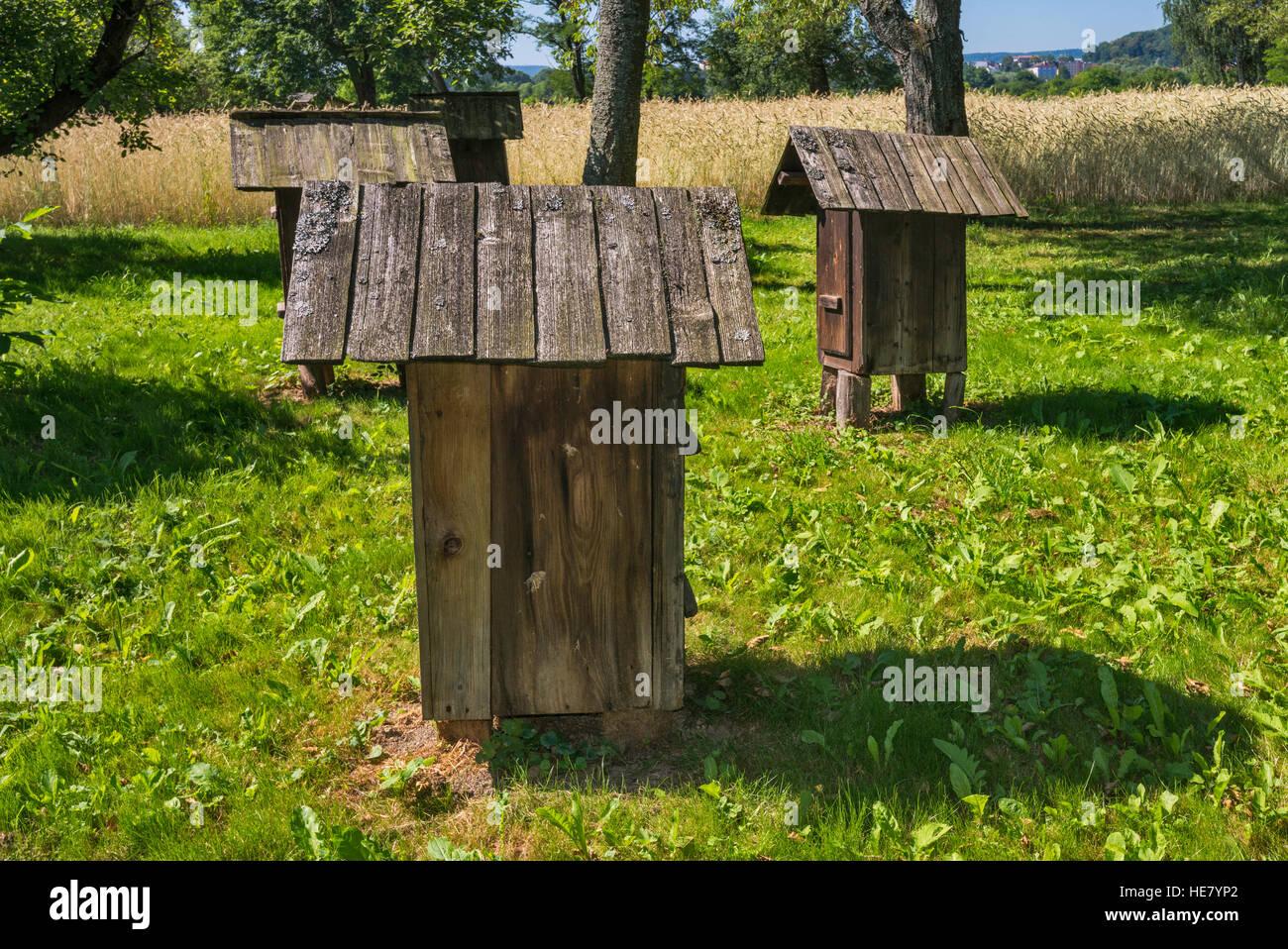 Ruches, dolinians groupe ethnique, du musée de l'architecture rurale dans la région de Malopolska, Photo Stock