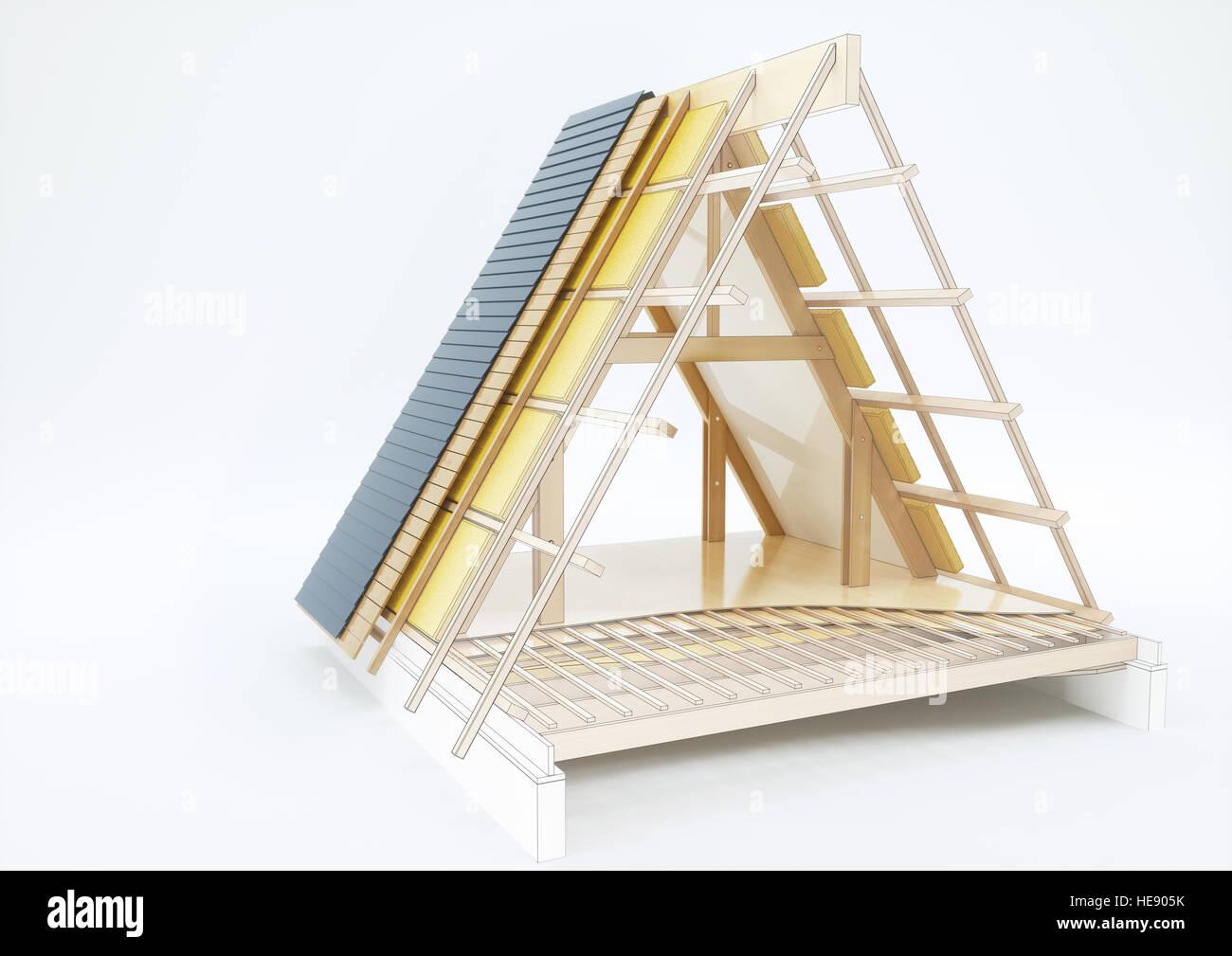Dessin de conception d'un toit avec des détails techniques - le rendu 3D Photo Stock