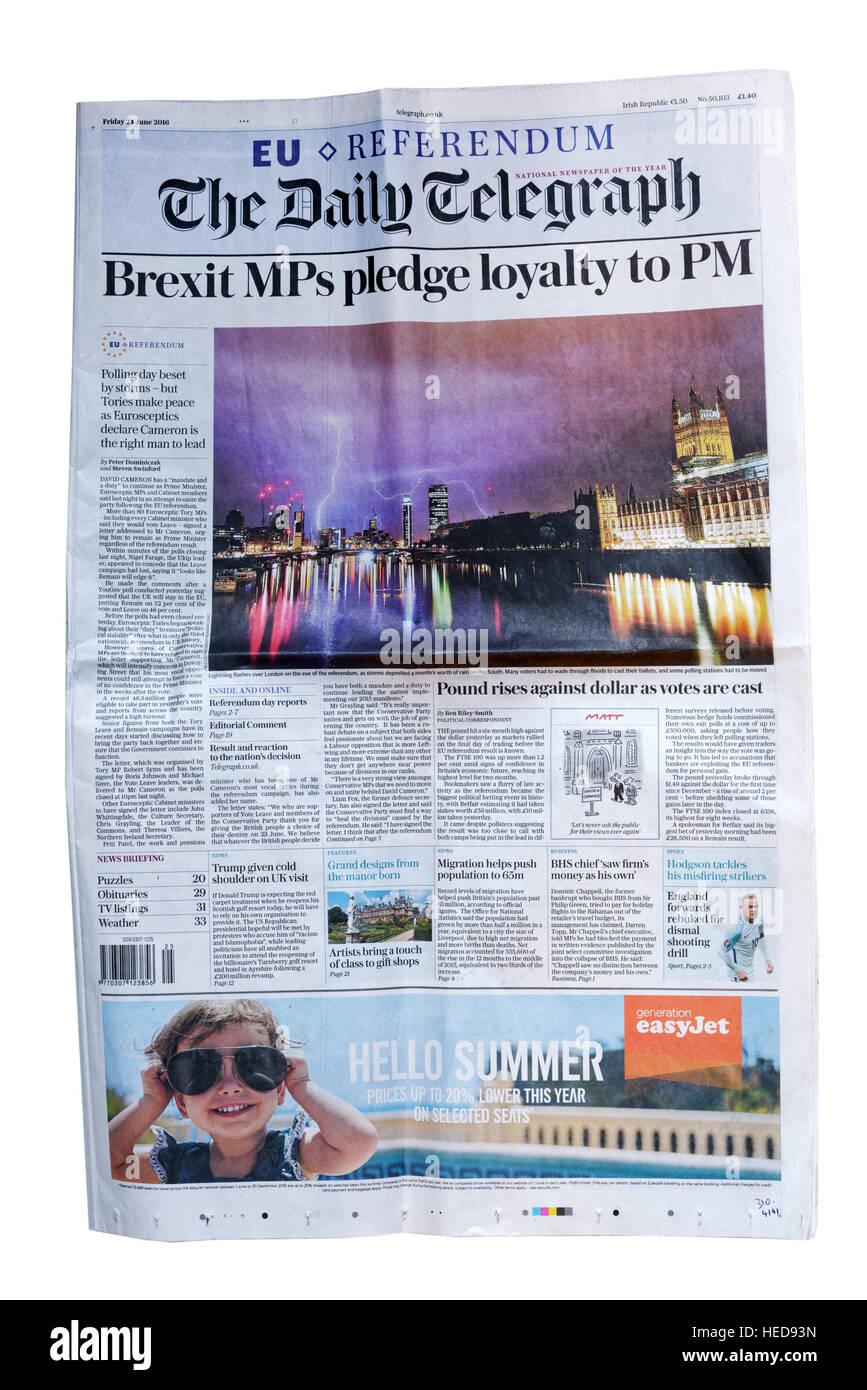 La première page du Daily Telegraph du 25 juin 2016, le Royaume-Uni Brexit après décision de quitter Photo Stock