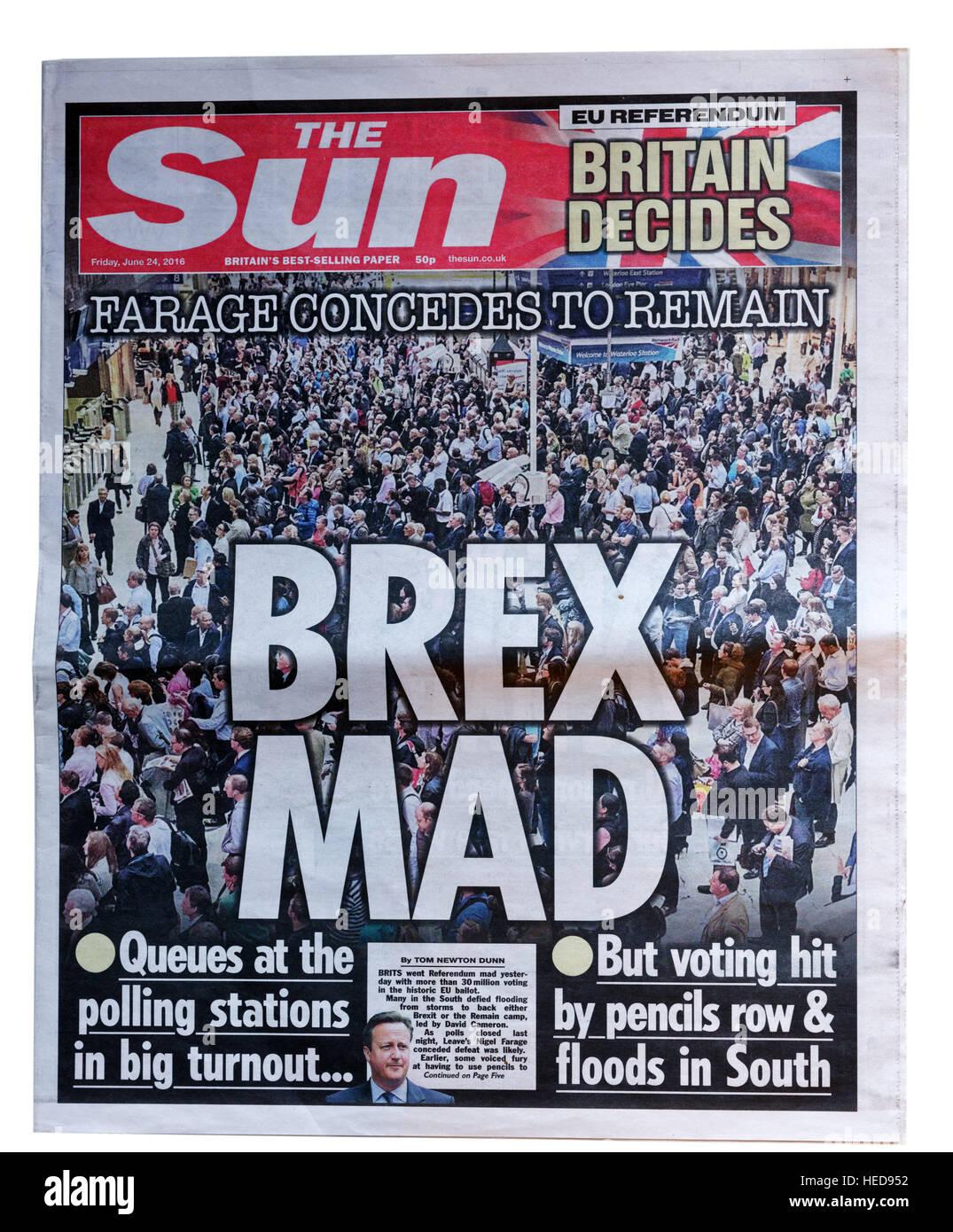 Le soleil gros titre de journal du 24 juin 2016 par jour du scrutin sur le référendum Brexit, avec la Photo Stock