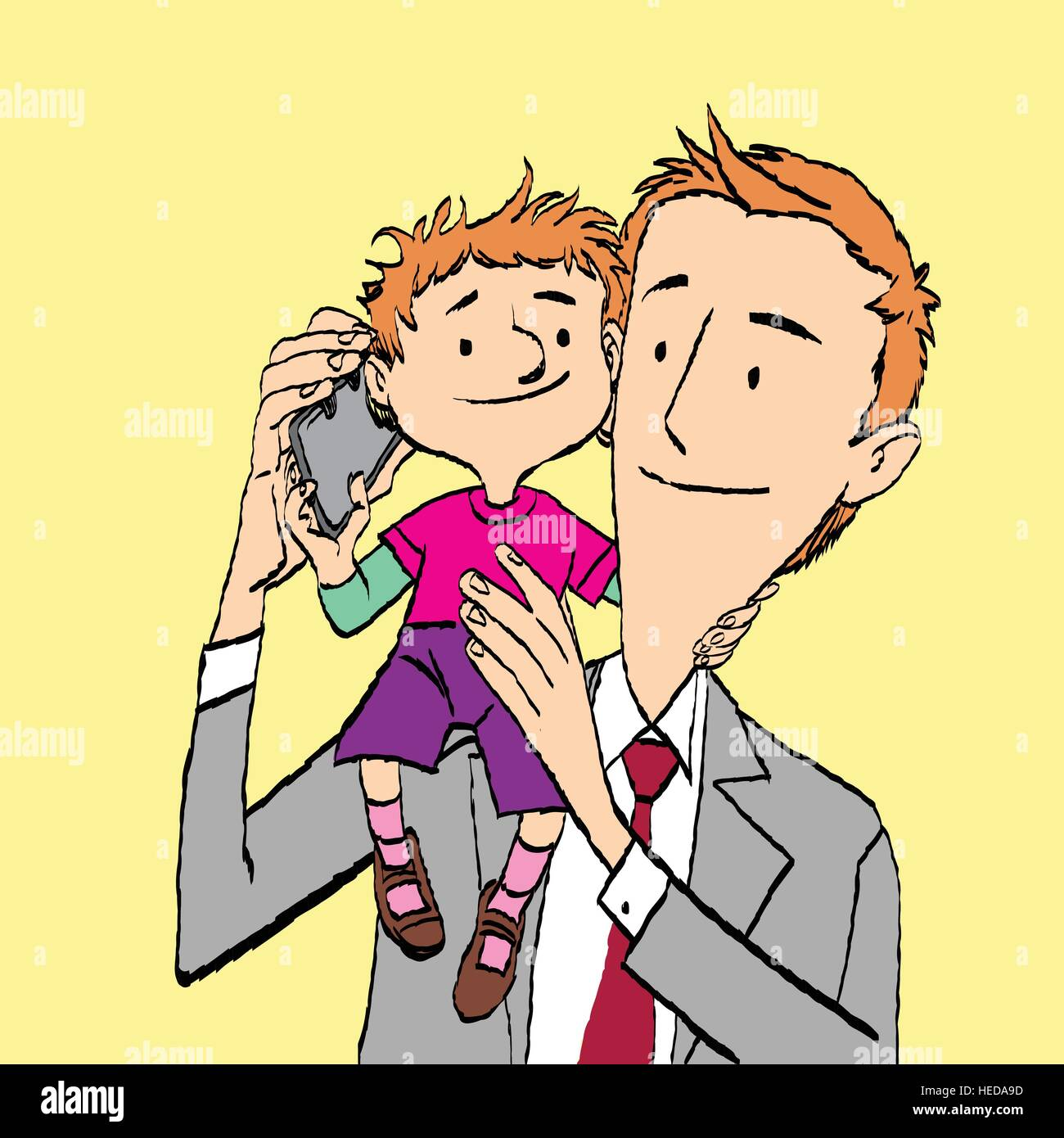 Père et fils à parler sur le smartphone Illustration de Vecteur