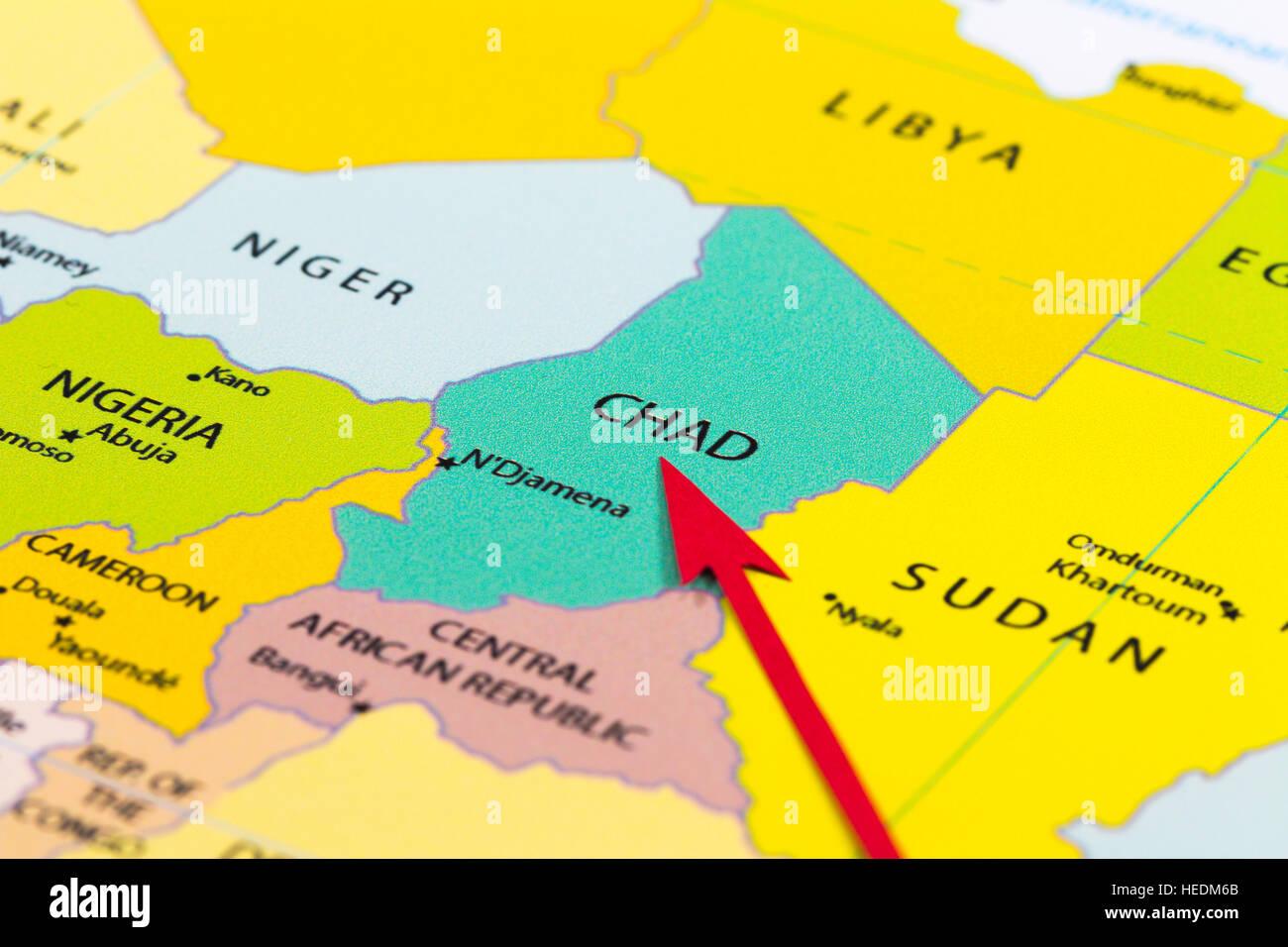 Carte De Lafrique Tchad.Fleche Rouge Pointant Le Tchad Sur La Carte De L Afrique