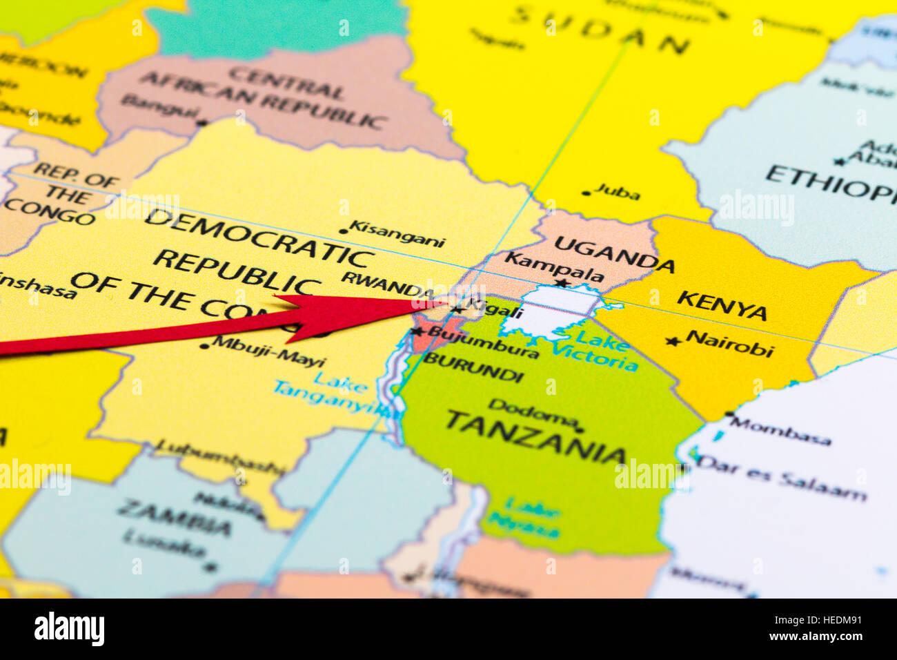 Carte Afrique Rwanda.Fleche Rouge Pointant Le Rwanda Sur La Carte De L Afrique