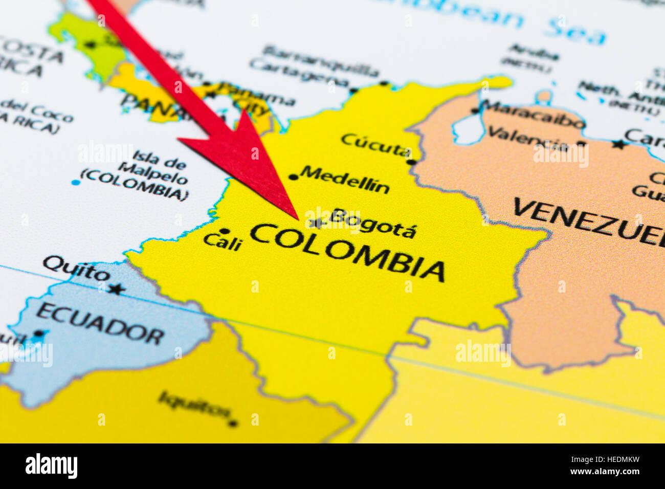 Carte Amerique Du Sud Colombie.Fleche Rouge Pointant La Colombie Sur La Carte De L Amerique