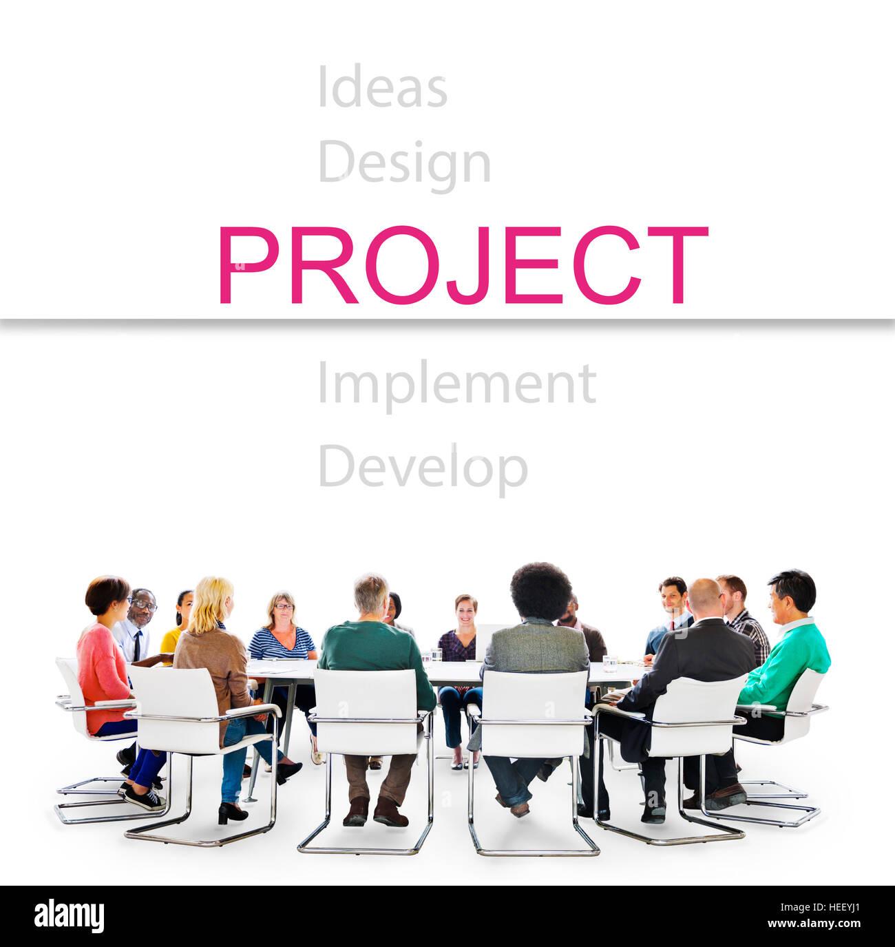 La conception du projet Mise en Œuvre de concept de développement Photo Stock