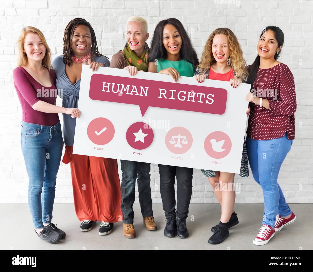 L'égalité des chances Droits des Femmes Féminisme Équité Concept Photo Stock