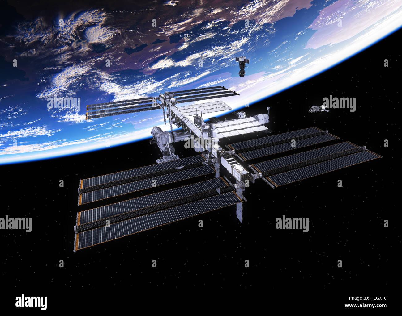 Satellites et la Station spatiale internationale. 3D Illustration. Photo Stock