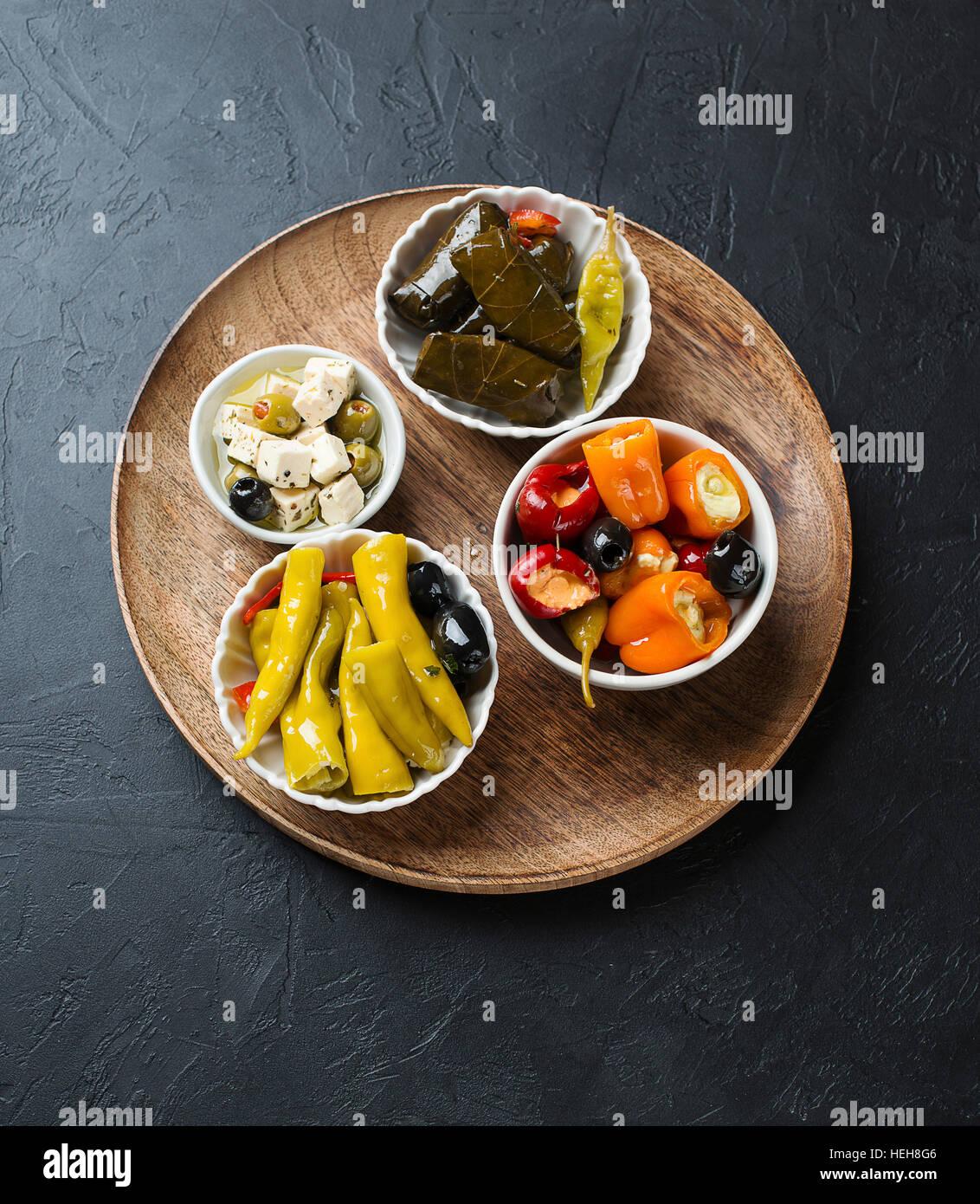 Antipasto mixte, la cuisine grecque Photo Stock
