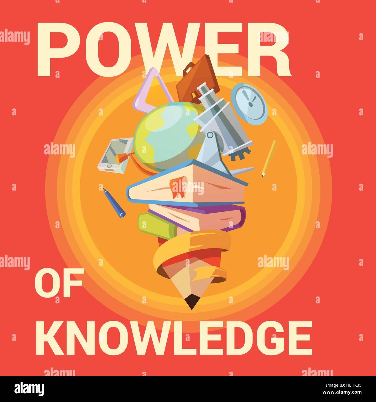176fcf4e220 Caricature de l éducation de l affiche. L affiche de l éducation avec  l apprentissage à l école fournitures dans retro cartoon style vector  illustration