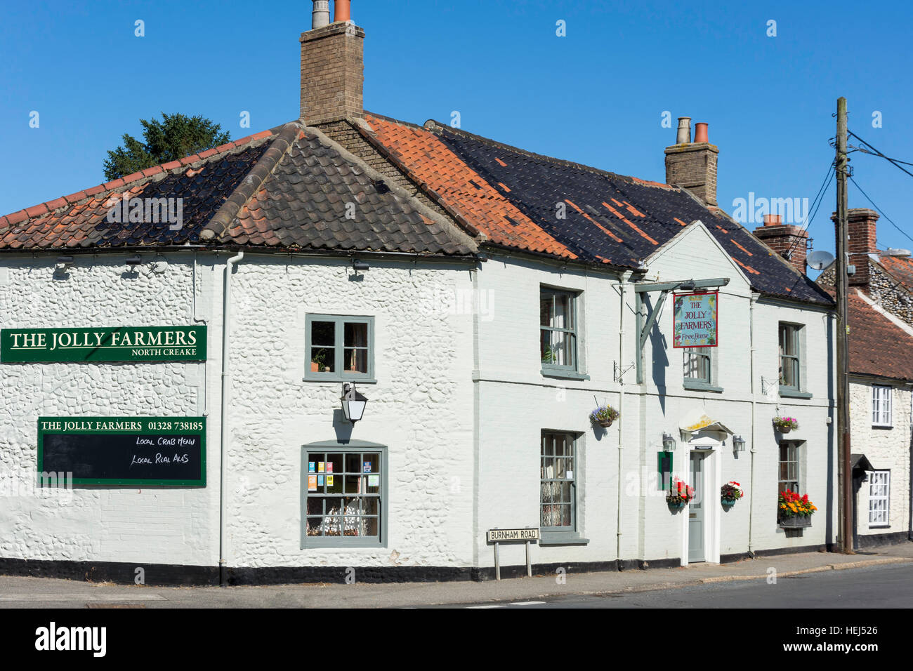 Le Jolly Farmers Pub, Burnham Road, North Creake, Norfolk, Angleterre, Royaume-Uni Photo Stock
