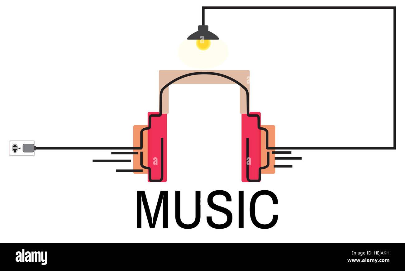 Casque multimédia Audio Musique Concept Photo Stock