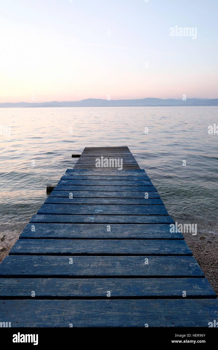 Absence,plage,Adriatique,bleu,marche,conseil,crépuscule,horizon,Méditerranée,Île jetée Photo Stock