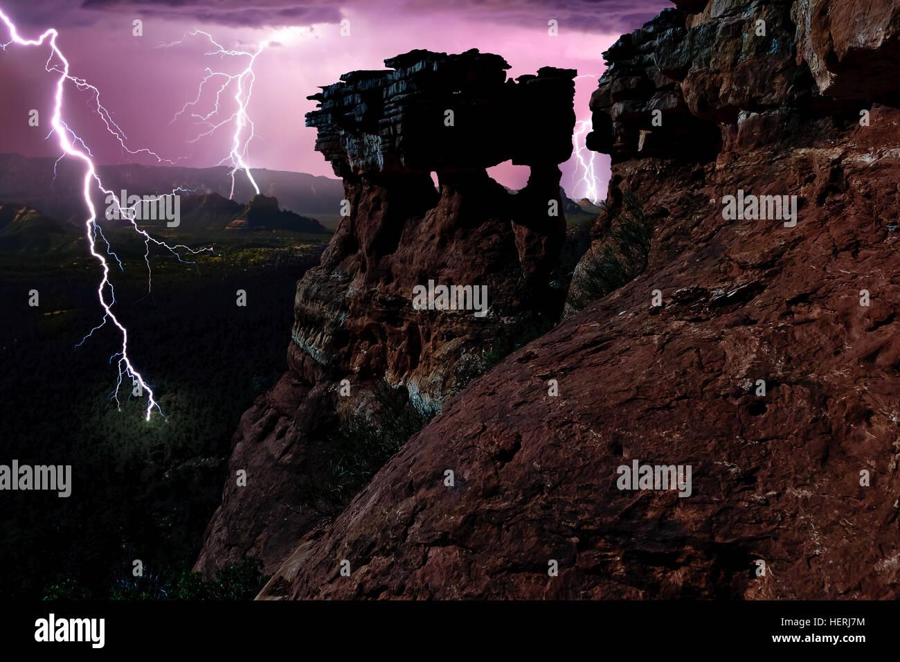 Lightning Strike, Sedona, Arizona, États-Unis Banque D'Images