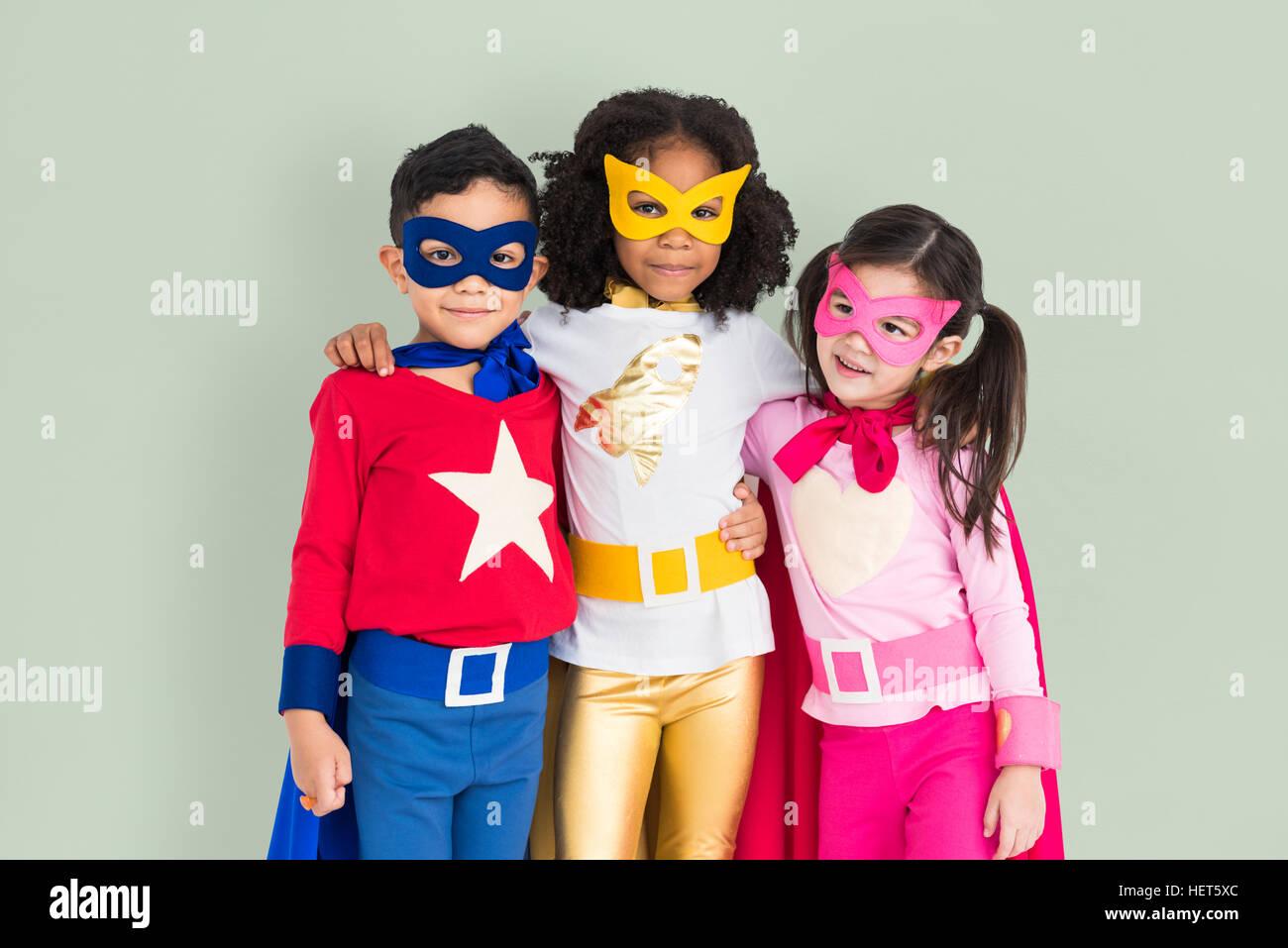 L'adolescence de super-héros enfant Kid Concept Expertise Photo Stock
