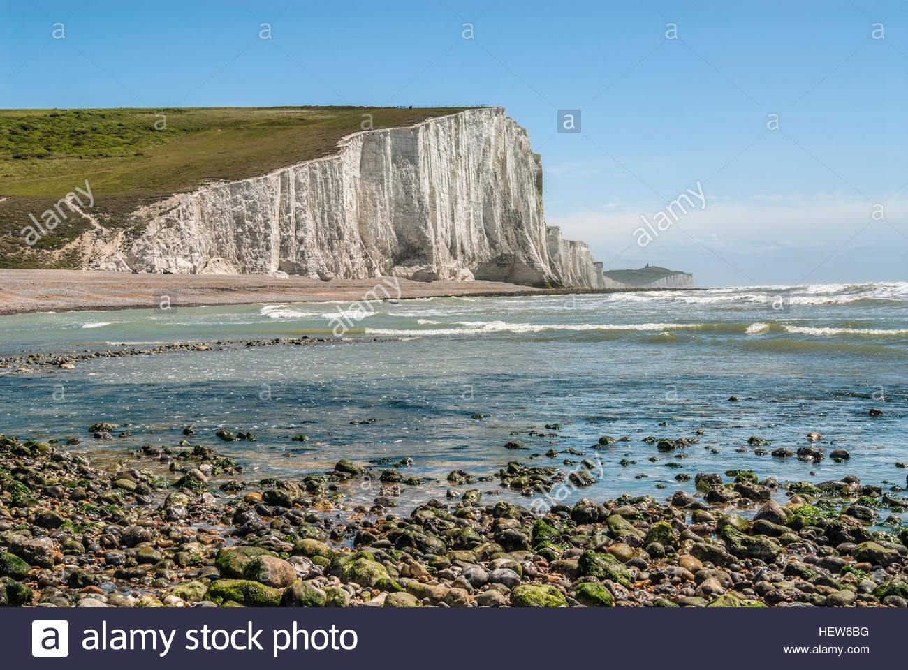 Vue sur la falaise près de la formation de sept Sœur Eastbourne, East Sussex, Angleterre du Sud. Photo Stock