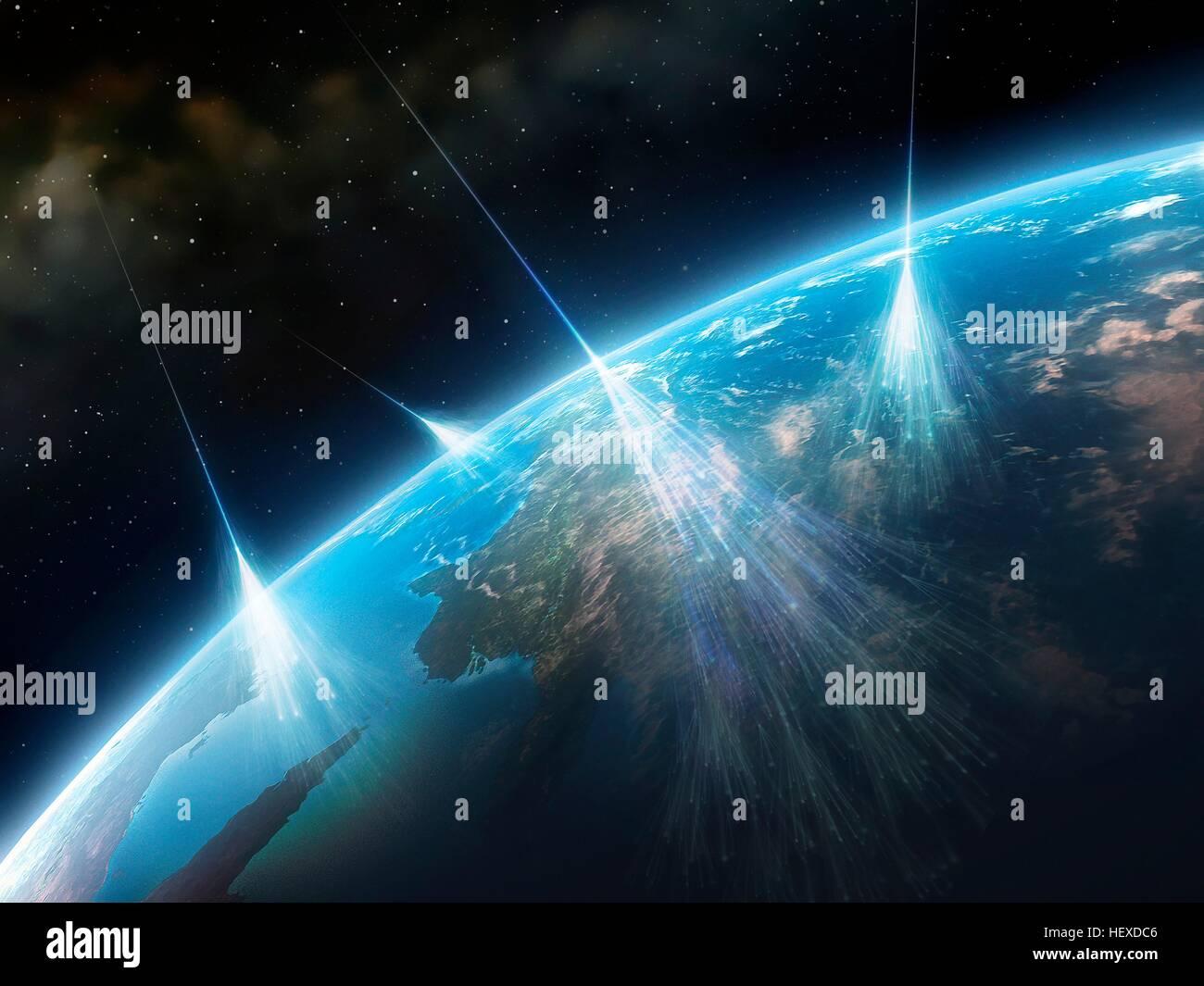 Les rayons cosmiques.Artwork de particules à haute énergie de rayonnement star dans l'espace profond Photo Stock