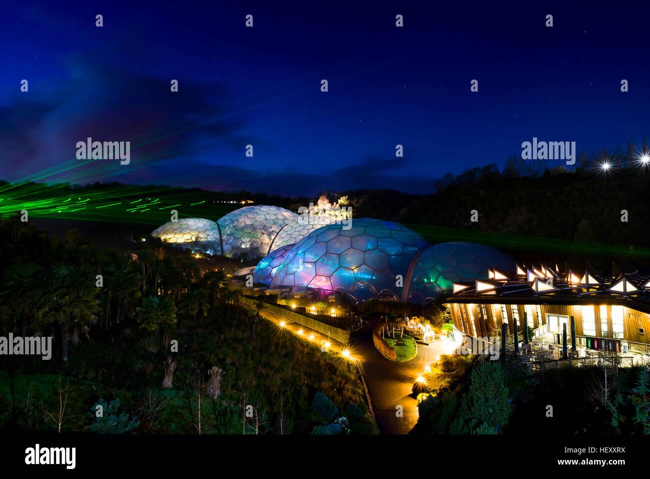 Projet Eden lumière et de son événement, Eden Project, Cornwall, UK prises tout au long de Décembre Photo Stock