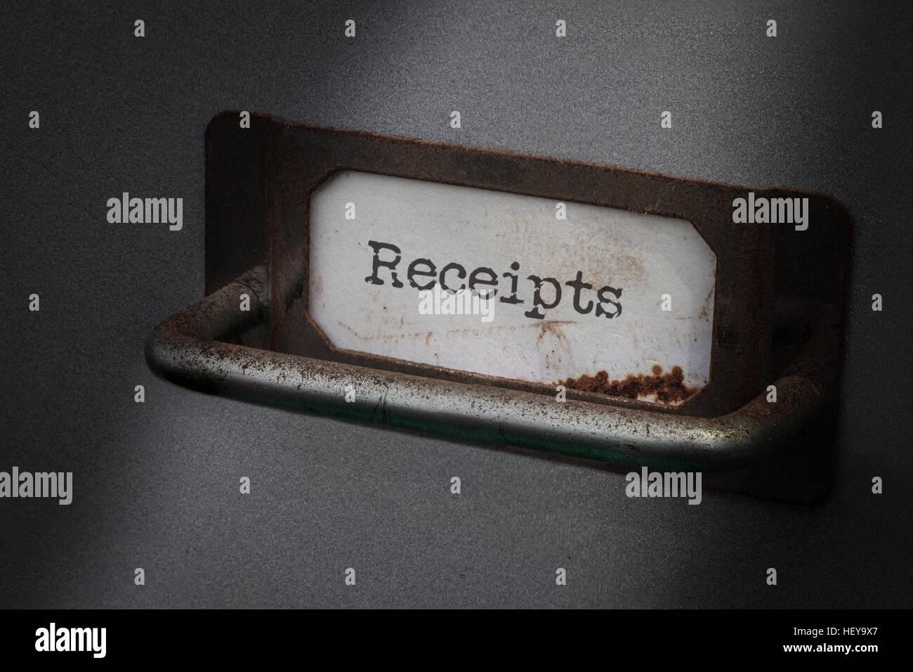 Ancienne armoire de classement, les reçus d'étiquettes Photo Stock