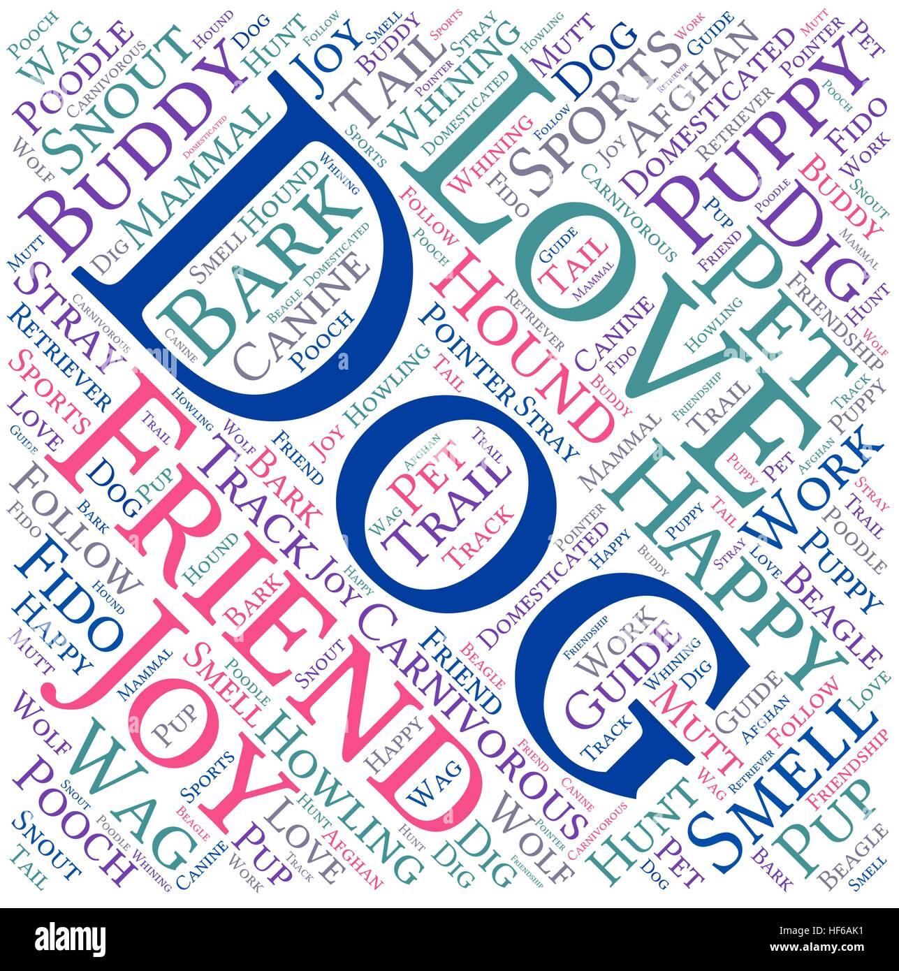 Nuage de mots chien sur un fond blanc. Photo Stock