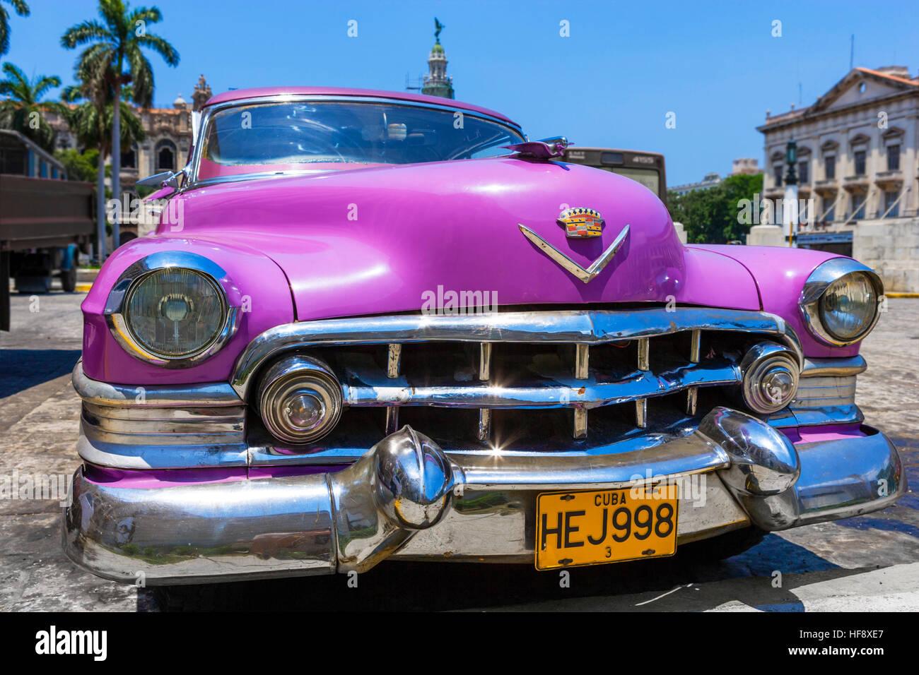 Cuba, voiture. Vieille voiture américaine à La Havane, Cuba Photo Stock