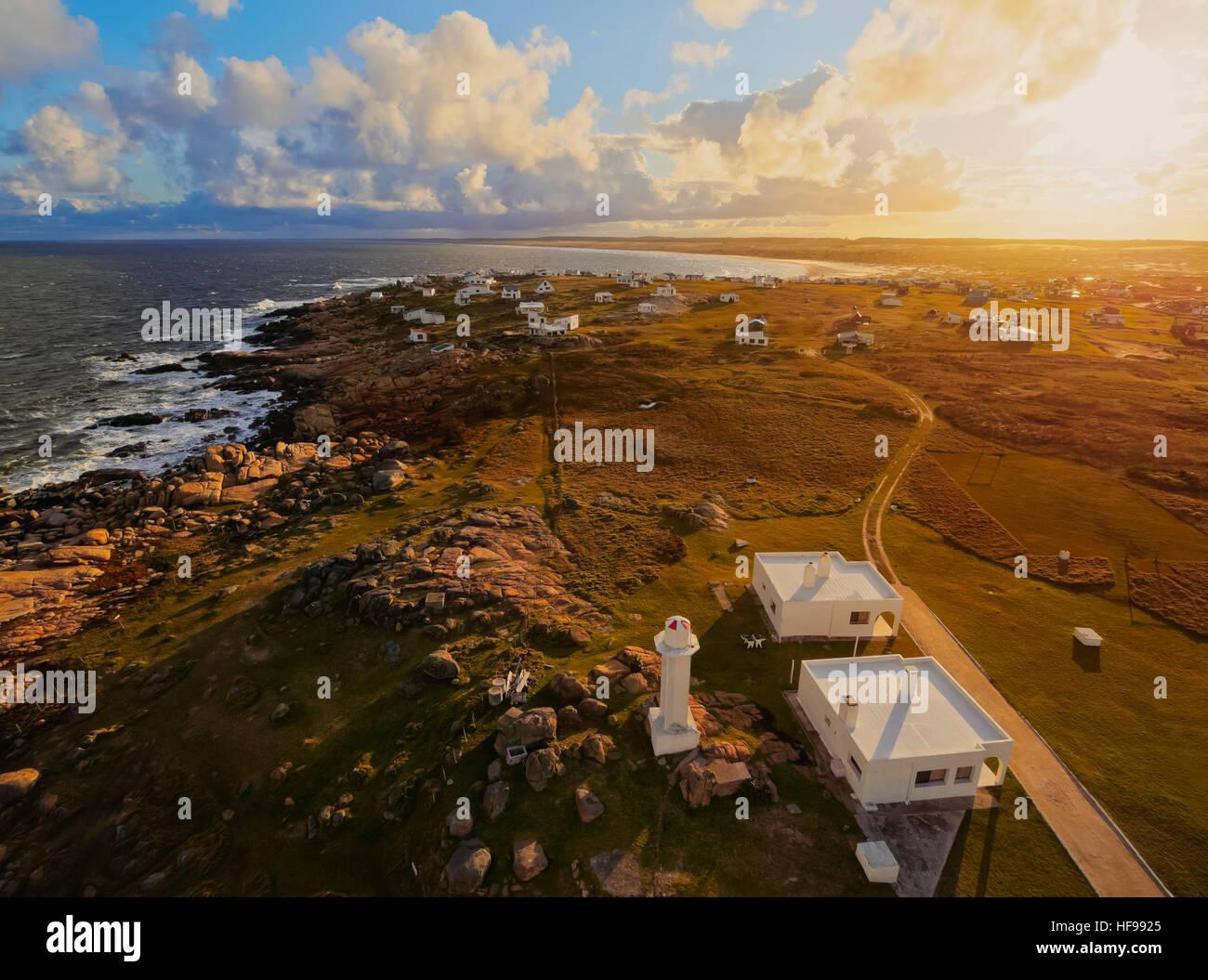 Vue sur Cabo Polonio au coucher du soleil, Rocha, Uruguay Ministère Photo Stock