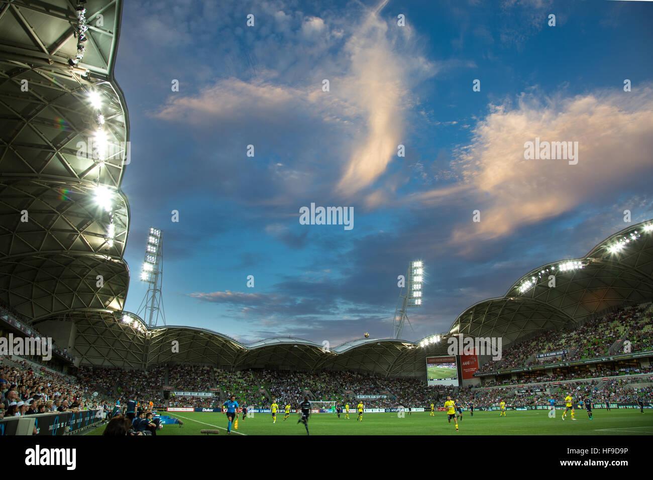 MELBOURNE, AUSTRALIE - 28 DÉCEMBRE: Hyundai A-League, Round 12. Melbourne Victory vs Central Coast Mariners. Photo Stock