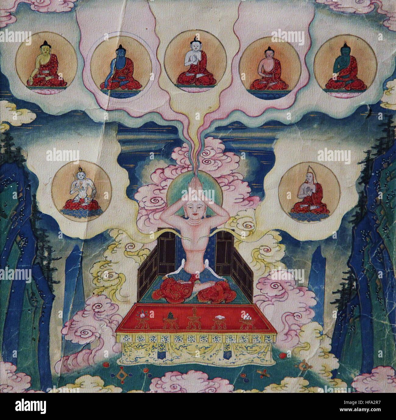 La méditation bouddhiste vajrayana tibétain du 18e siècle peinture bouddha et l'esprit de dévotion Photo Stock