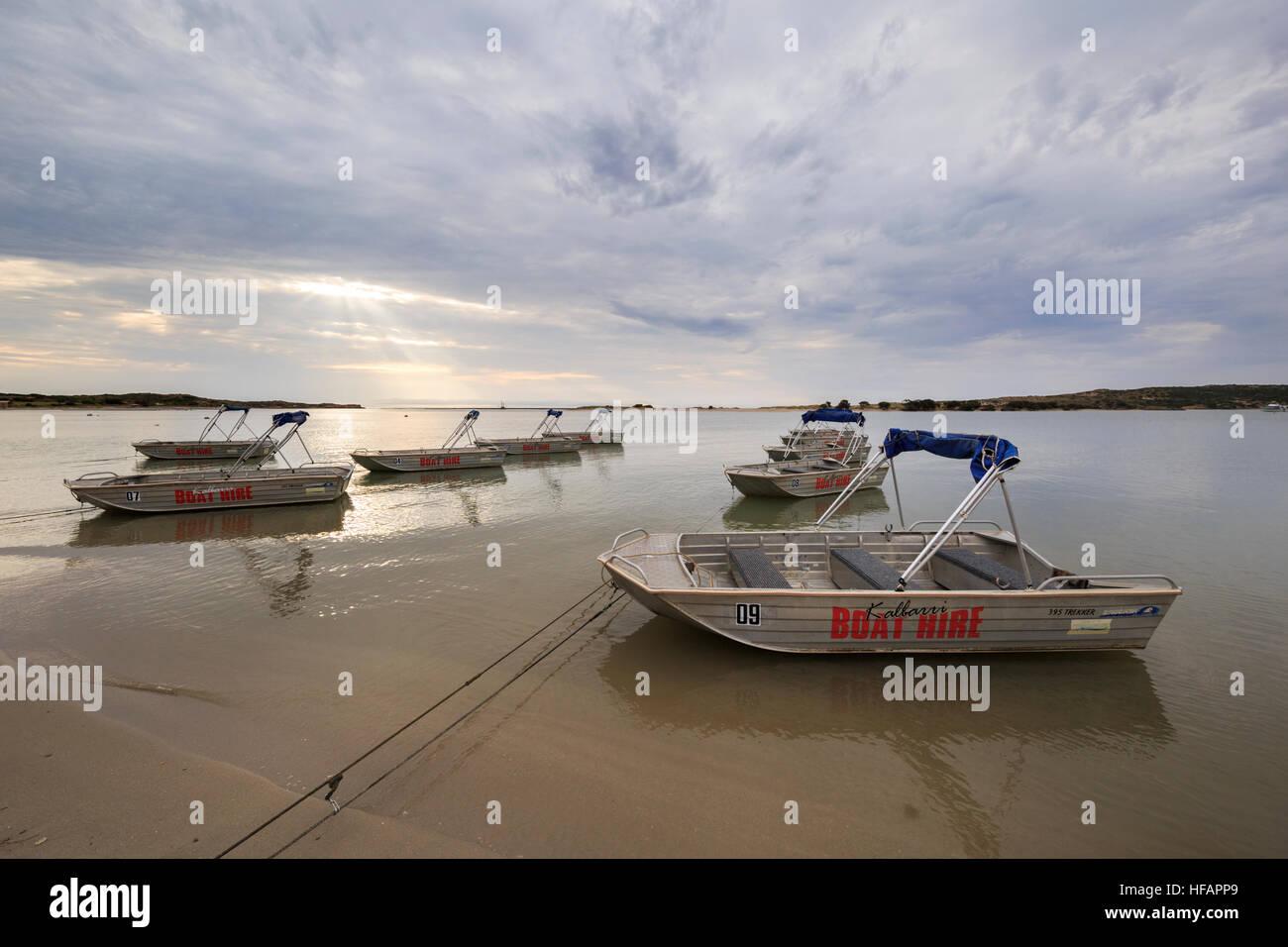 Trekker 395 Brooker bateaux à louer sur les rives de la rivière Murchison Photo Stock