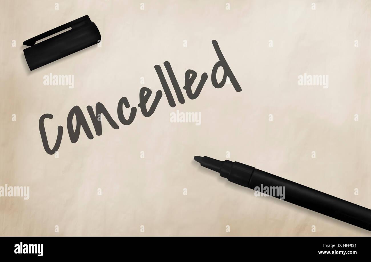 D'annulation rejetée Annuler Annulation refusée diminué Concept Photo Stock