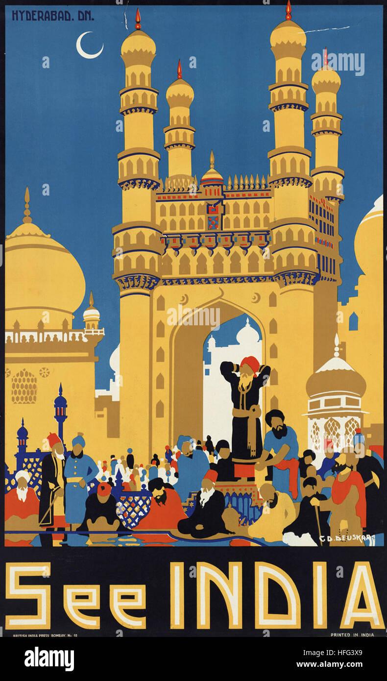 Vintage Voyage affiche - voir l'Inde Photo Stock