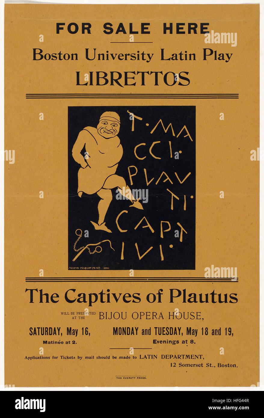 En vente ici, l'Université de Boston, l'Amérique latine jouer librettos captifs de Plaute Photo Stock