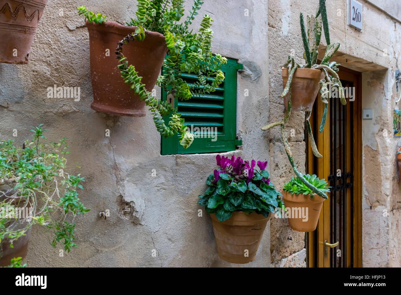 Accroche Au Mur Des Pots De Fleurs Dans La Ville De Valldemosa Dans
