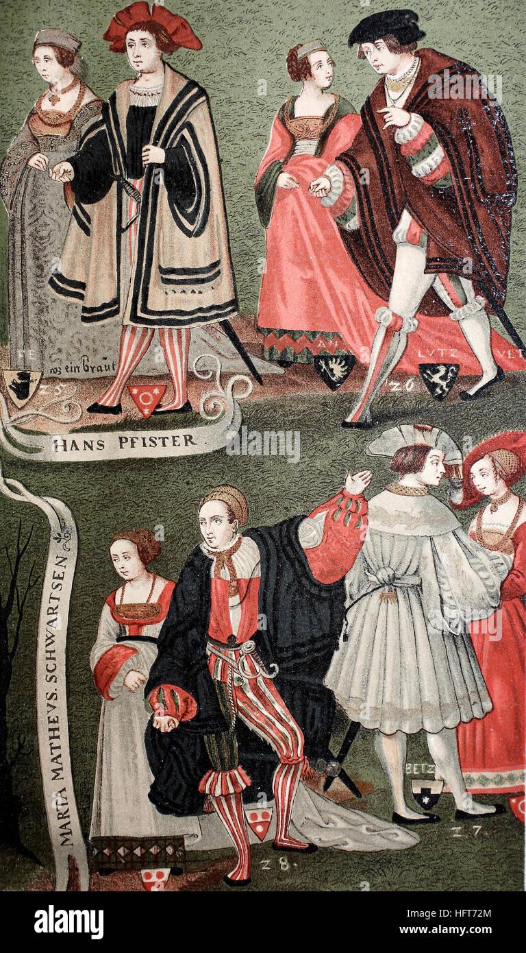 Porter des costumes nobles citoyens Augsburger autour de 1520, l'Allemagne, gravure sur bois de l'année Photo Stock