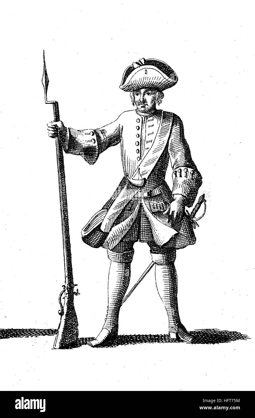 Types militaires depuis le début du 18e siècle, à partir de: von der deutsche vollkommene Fleming, Photo Stock