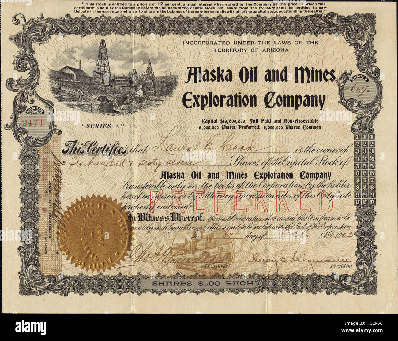 L'huile en 1903 et des Mines Exploration Company Stock Certificate - USA Photo Stock