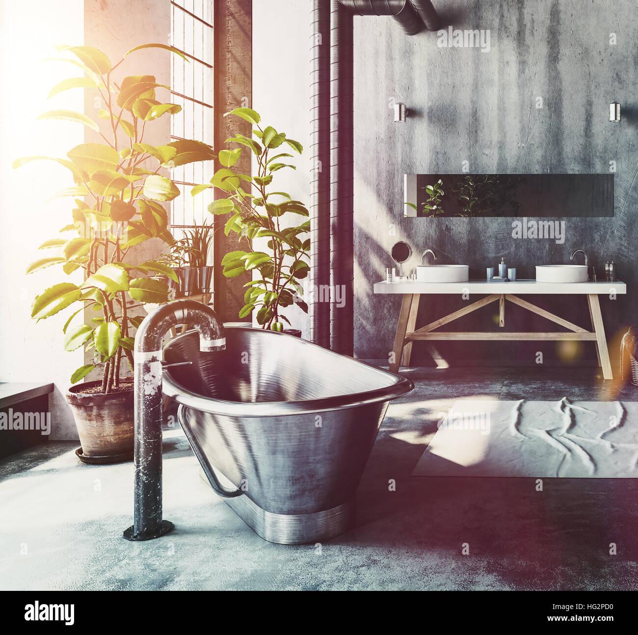 Salle de bains Hipster dans un loft industriel converti avec ...