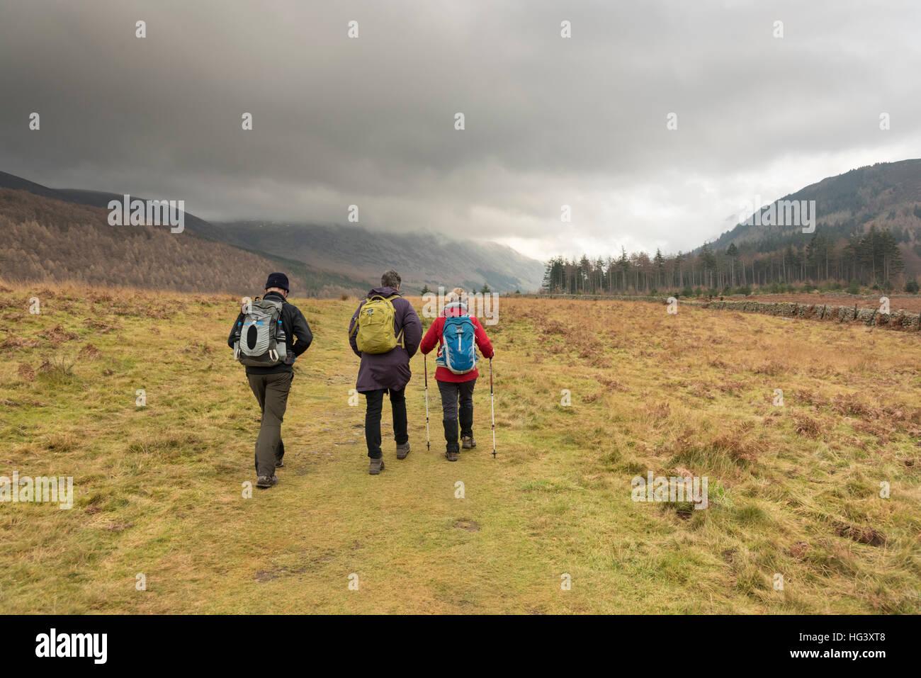 Trois personnes mûres la randonnée dans la région de Lake District Cumbria UK portant des vêtements imperméables Banque D'Images