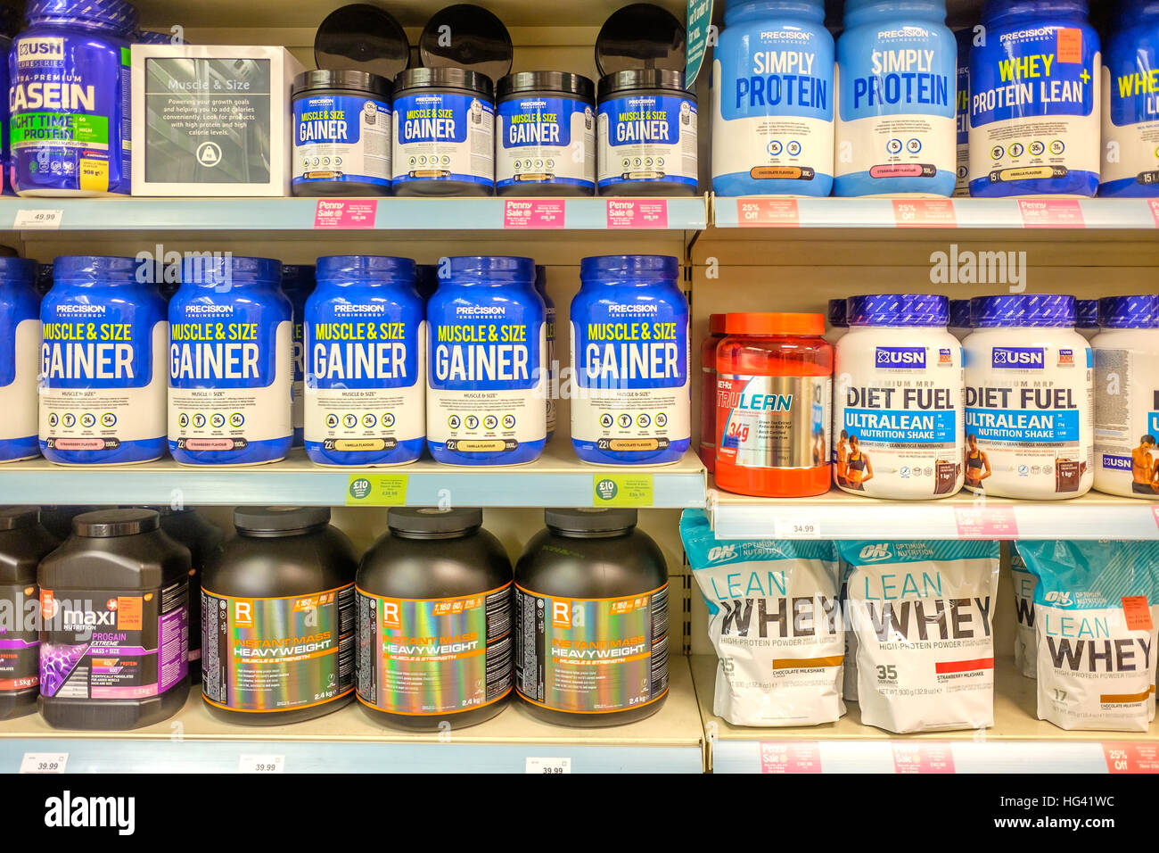 La formation de poids compléments alimentaires en Hollande et Barrett Photo Stock