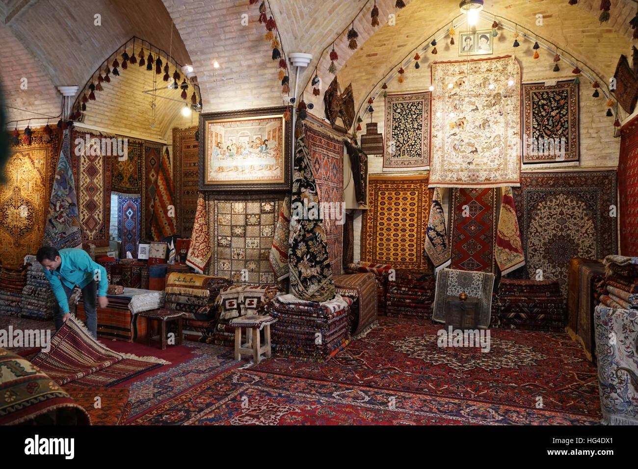 Boutique de tapis, Grand Bazar, Isfahan, Iran, Moyen-Orient Photo Stock