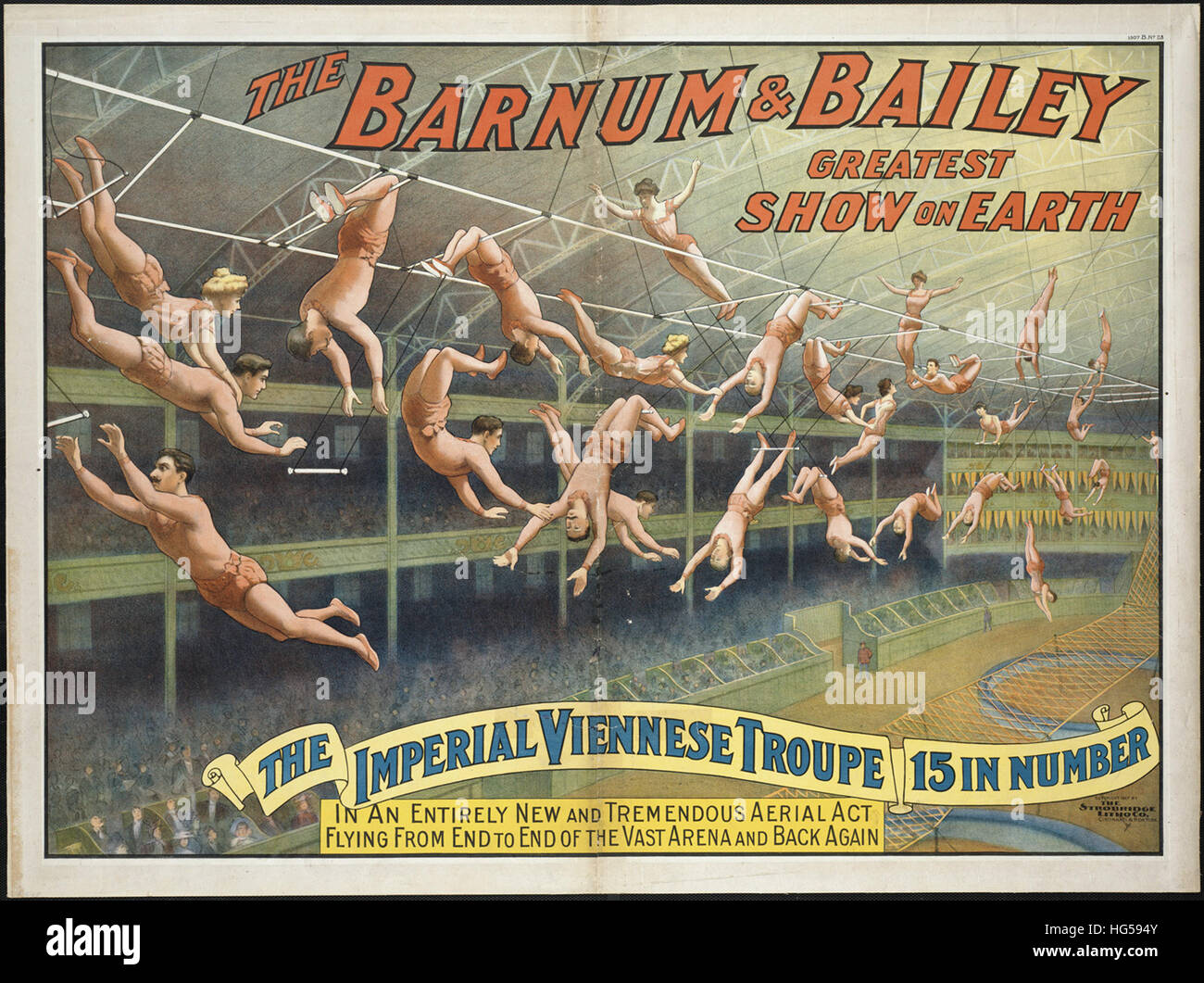 Affiche de cirque Barnum & Bailey - Le plus grand spectacle sur terre _ La troupe viennoise impériale, Photo Stock