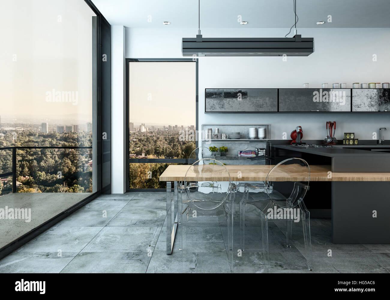 grande cuisine quip e moderne avec porte en verre menant un patio ext rieur donnant sur la. Black Bedroom Furniture Sets. Home Design Ideas