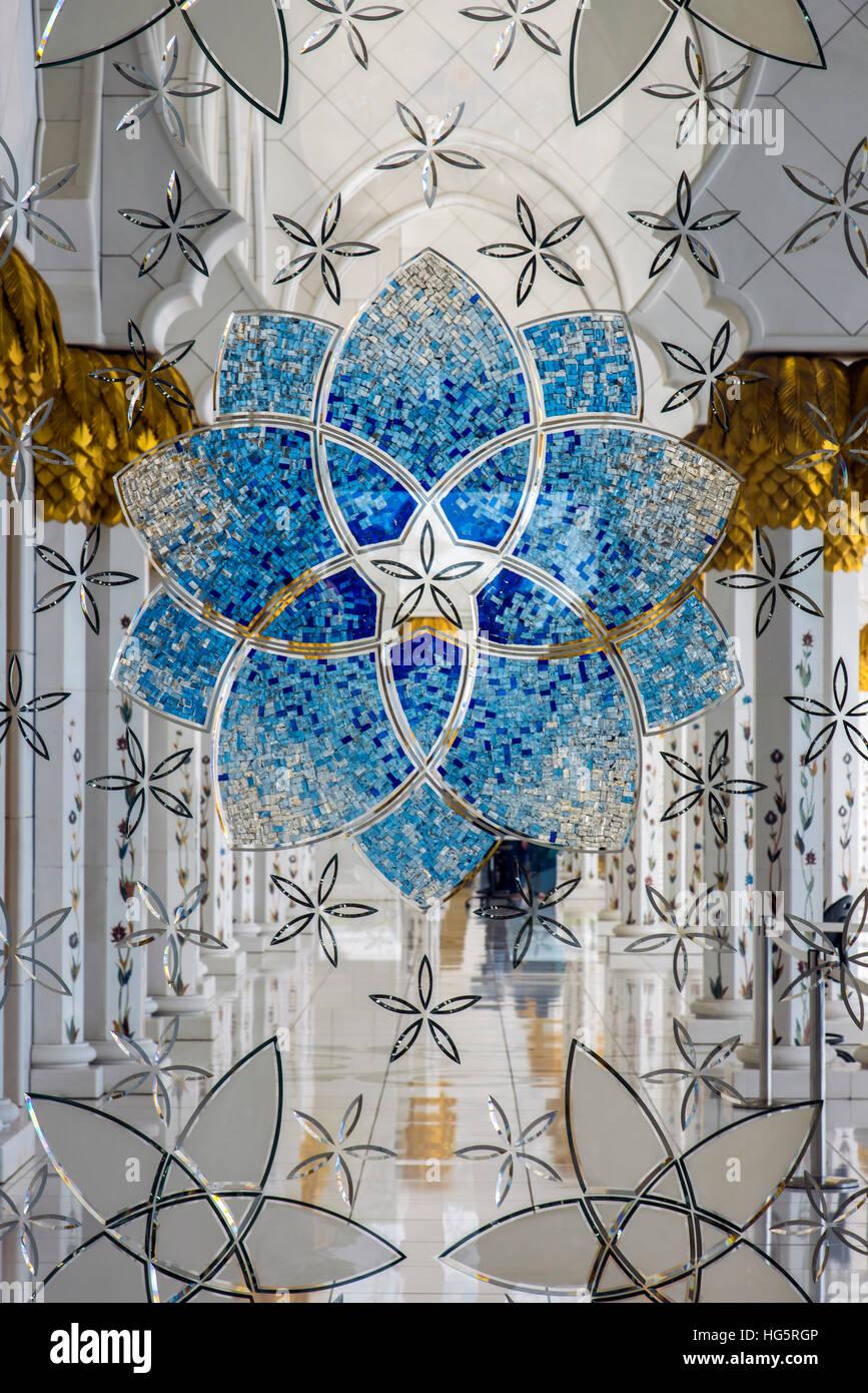 La décoration de l'intérieur du verre, la Mosquée Sheikh Zayed, Abu Dhabi, Émirats Arabes Photo Stock