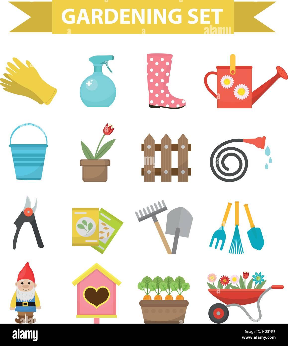 Icon Set de jardinage, plat traditionnel. Jardin et verger outils ...