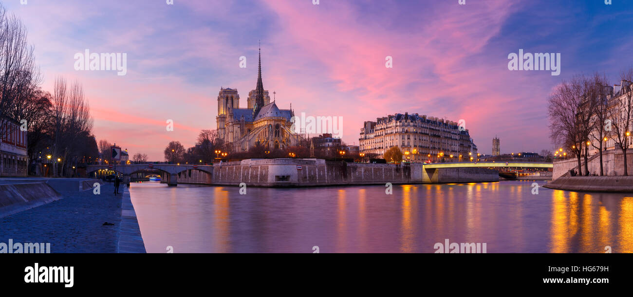 Cathédrale Notre Dame de Paris au coucher du soleil, France Photo Stock