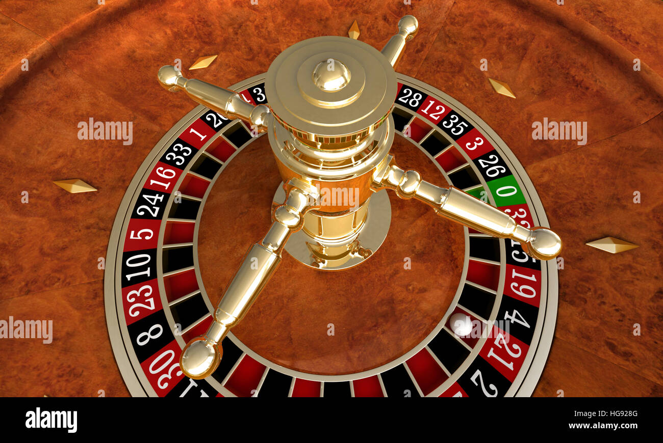 3D render of closeup détail de la roulette de casino Photo Stock
