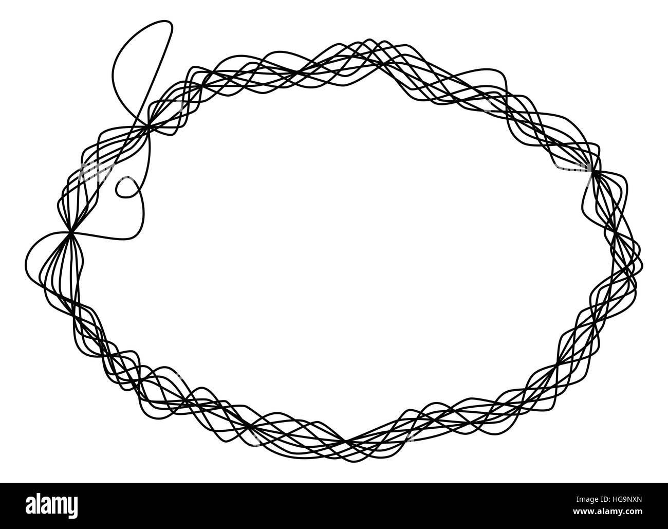 Seul fil trame. Une seule ligne est 8 fois enroulé autour et façonner une ellipse comme un fil de la sculpture. Photo Stock