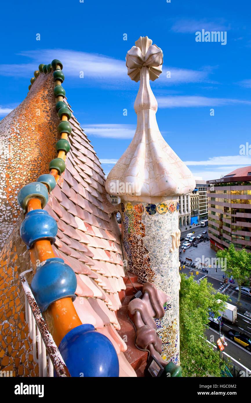 Toit de la Casa Batlló, Barcelone Photo Stock