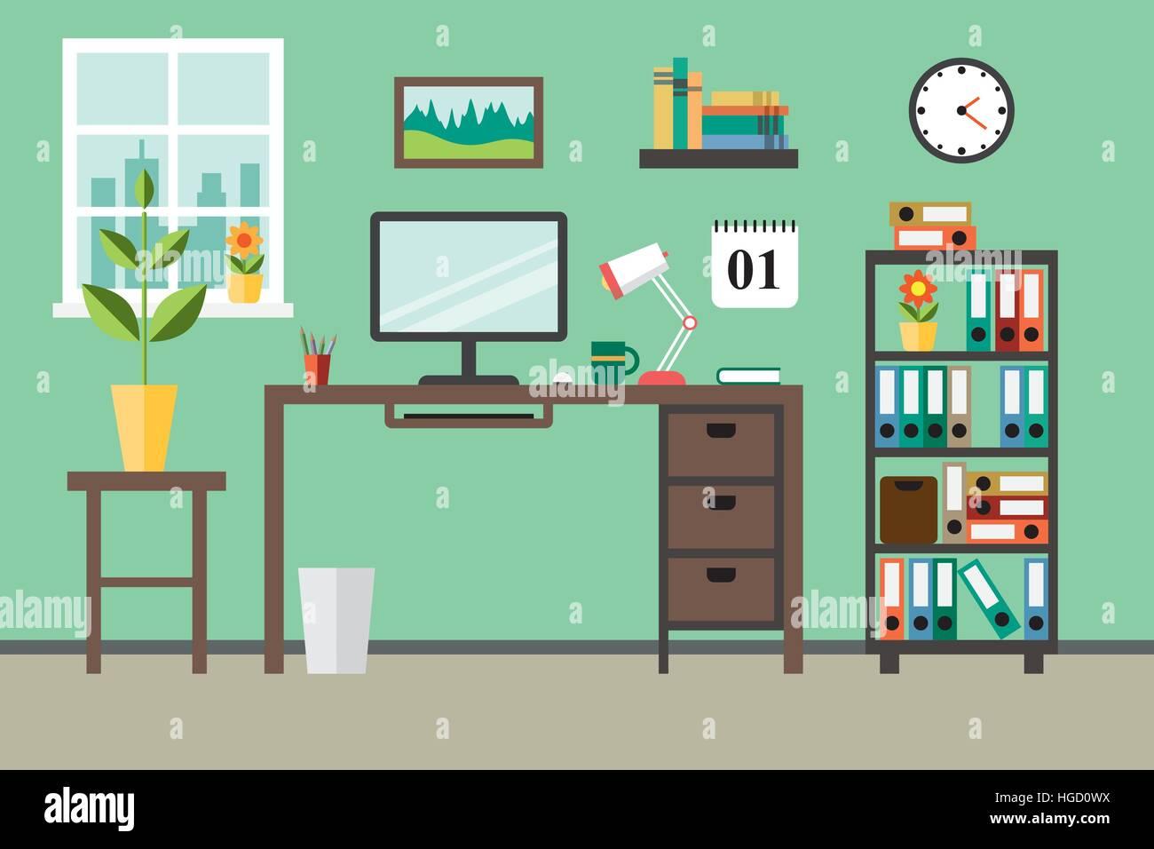 Télévision design moderne concept pour travail de bureau Illustration de Vecteur