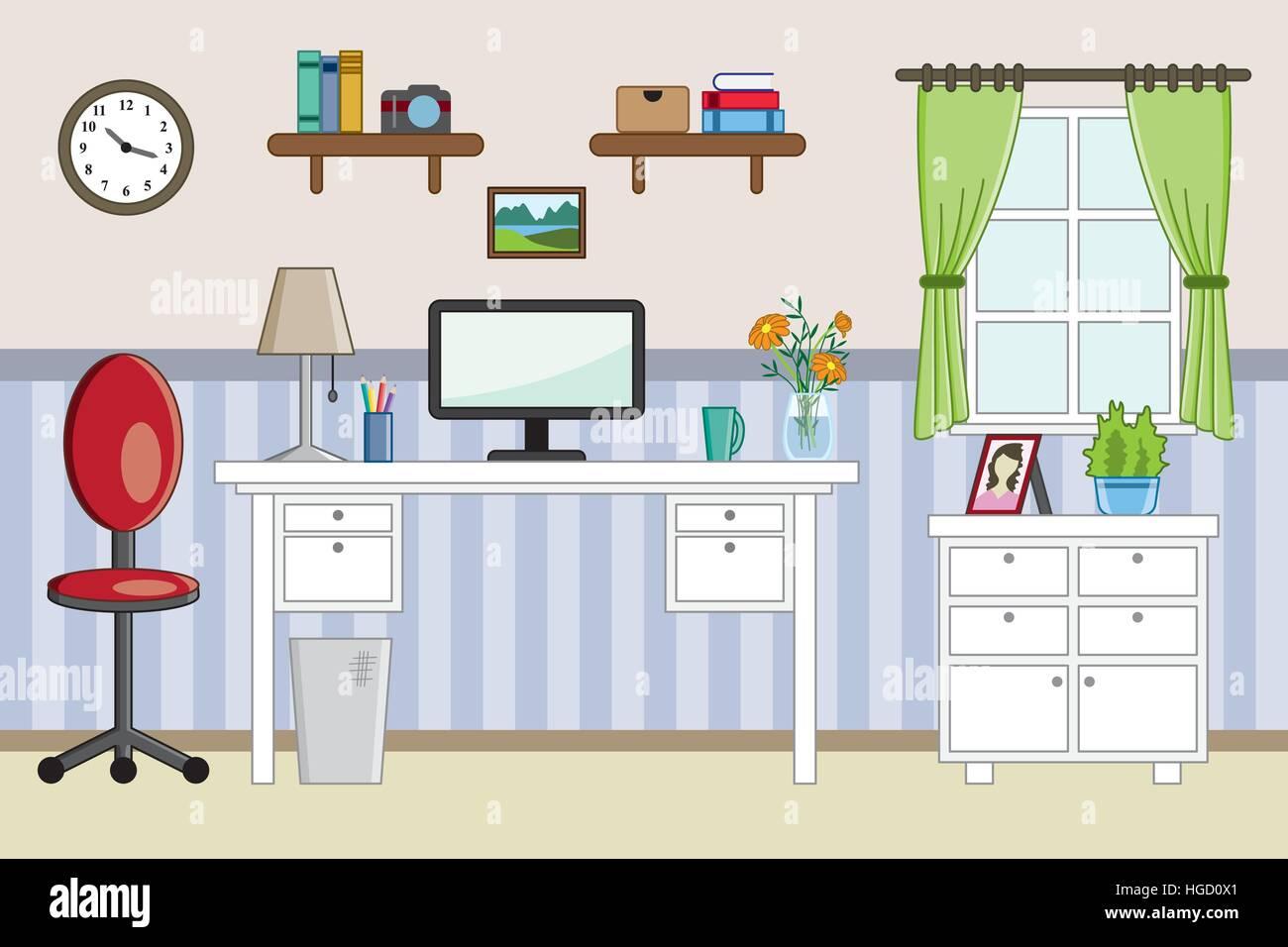 Homeoffice design plat - travail Illustration de Vecteur