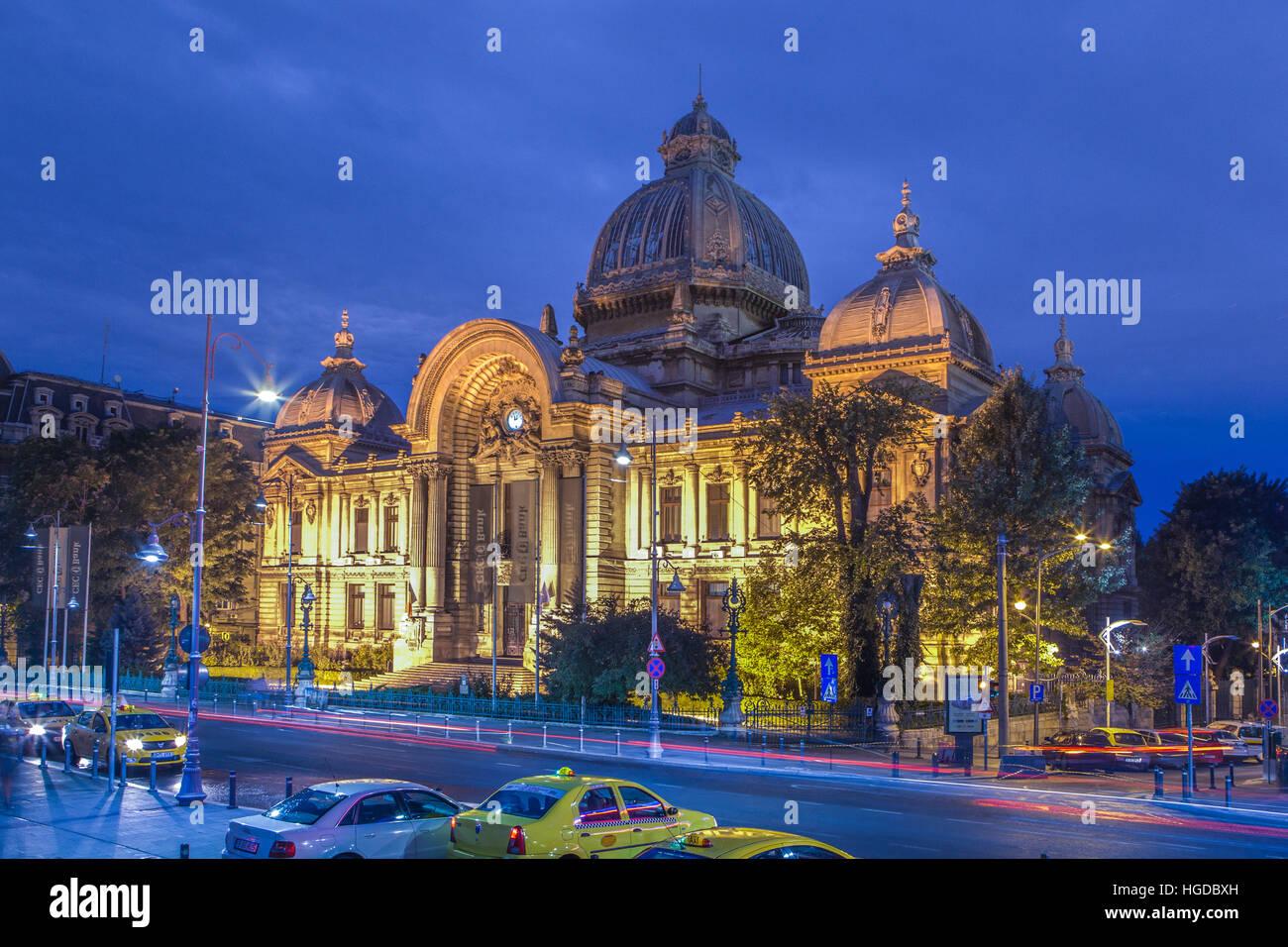 Roumanie, Bucarest, la CCE PALAIS, ancienne banque Photo Stock